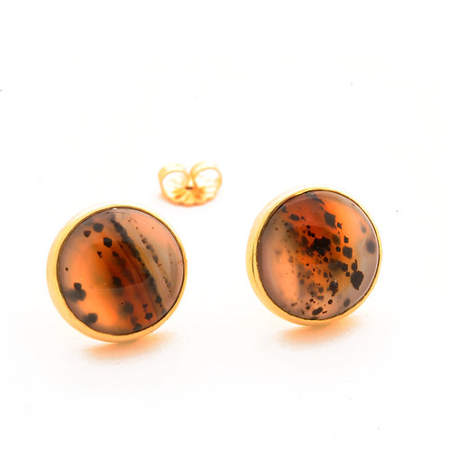 Montana Agate Earrings in 18k Gold.