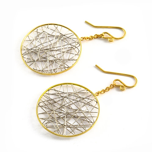 Woven Platinum Earrings with 18k Gold.
