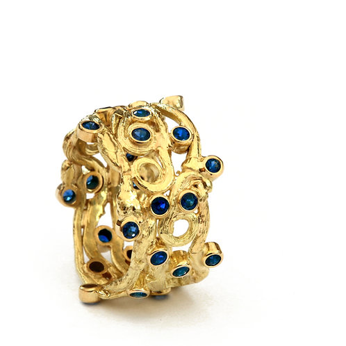 Twig Ring with Sapphires in 18k Gold