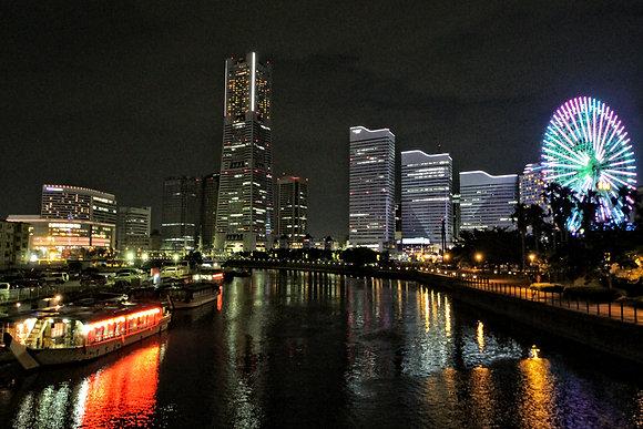 Night View Reflection, Yokohama, Japan