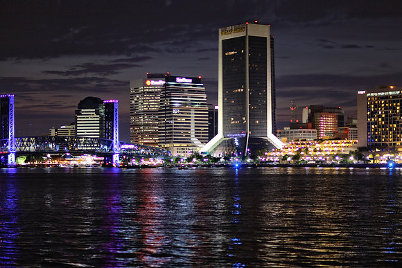 Jacksonville Florida Skyline Red