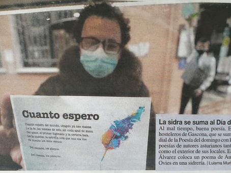 Gascona expone en sus chigres poemas de autores asturianos