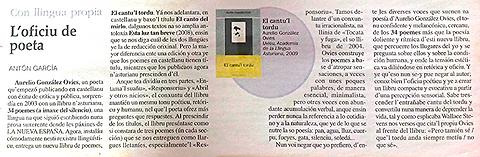 Reseña de Antón García en La Nueva España (5-11-2009)