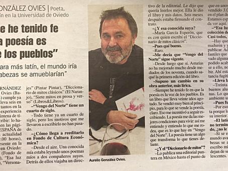 Aurelio González Ovies: 'La poesía es la voz de los pueblos'