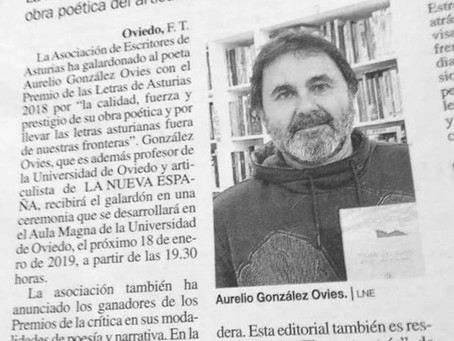 Aurelio González Ovies, galardonado con el premio de las Letras de Asturias