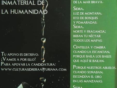 Versos de Aurelio González Ovies apoyando la candidatura de la cultura sidrera a Patrimonio Inmateri