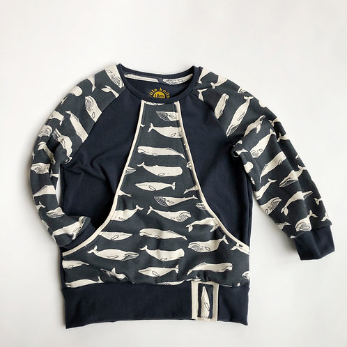 Pocket Sweater - Navy Whales