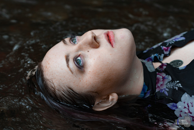 Upon finding a little waterfall hidden away, both model and photographer traversed somewhat-daring conditions to get their shots. And with Haley's stunning blue eyes, Alex really wanted a shot to spotlight them.