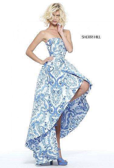 Sherri Hill 51097 Ivory/Blue Print