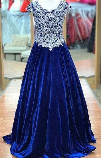 Unique Fashion UF3159F Royal Blue Velvet