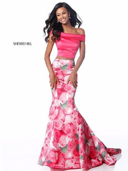 Sherri Hill 51849 Pink Print