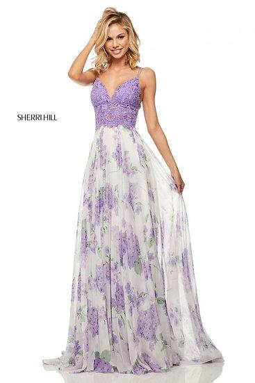 Sherri Hill 52857 Lilac/Ivory Print