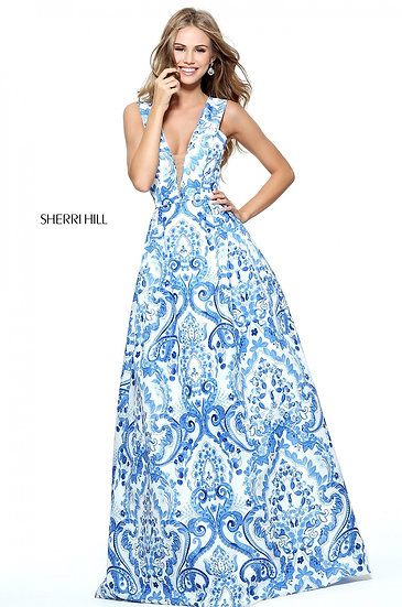Sherri Hill 51014 Ivory/Blue Print
