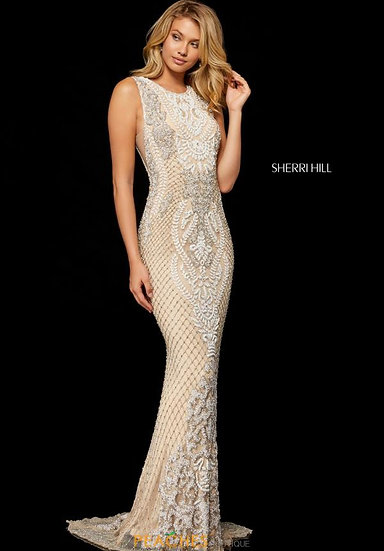 Sherri Hill 52369 Nude/Ivory/Silver