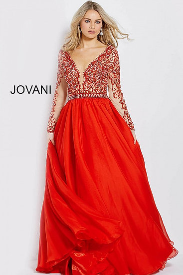 Jovani 55207A Red/Nude