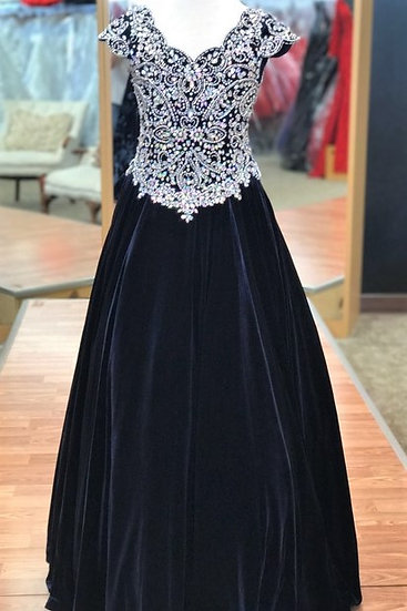 Unique Fashion UF3159F Navy Velvet
