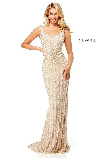Sherri Hill 52563 Nude/Silver