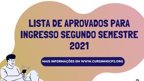 Lista de aprovados - Processo seletivo segundo semestre 2021