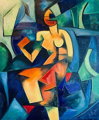 Painting, portrait, contemporary art, picasso, appropriation art, canvas painting, colourful art, cubism