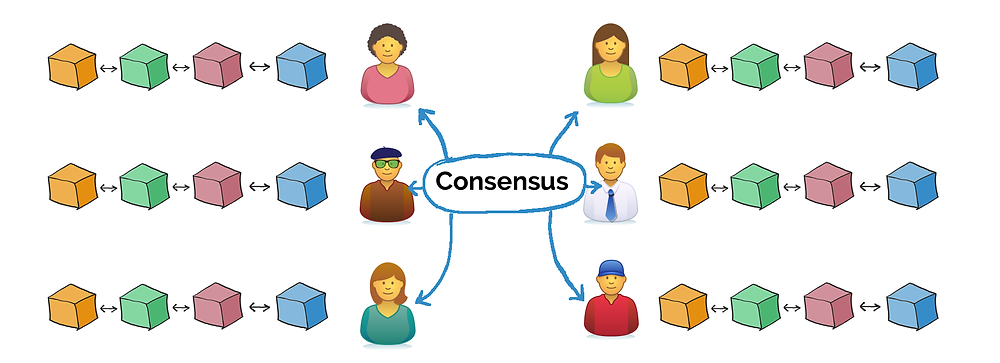 Consensus means all nodes agree on the order of blocks.