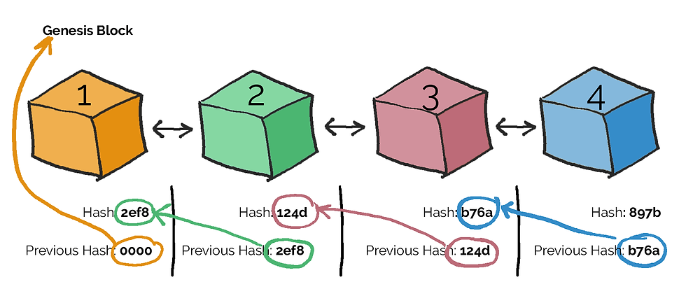 Blocks are linked by their hash values.