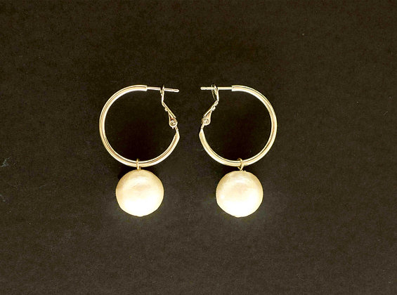 Petit Pearl Drop Hoop Earrings