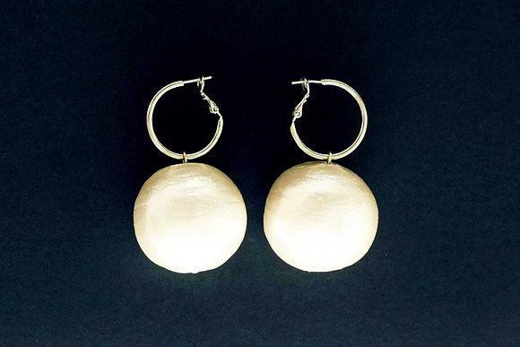 Big Pearl Drop Hoop Earrings