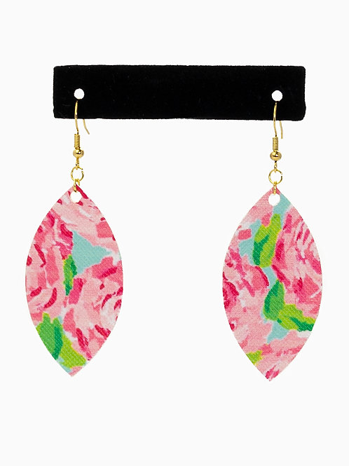 Pink Rose Faux Leather Earrings