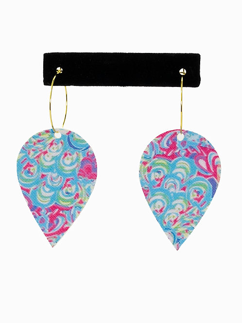 Lilly Pulitzer inspired Faux Leather Earrings
