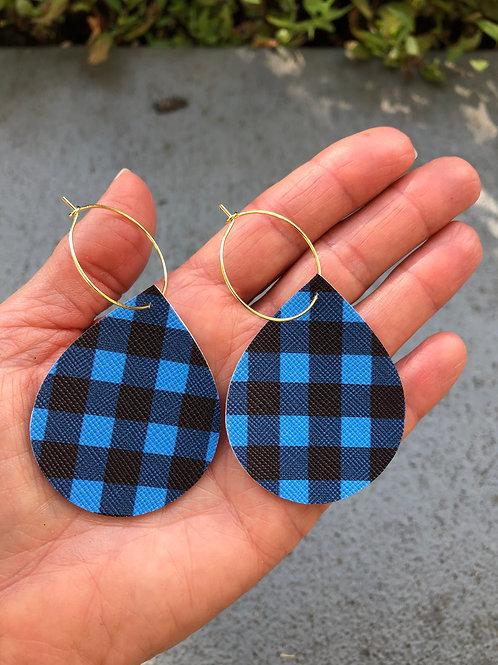 Blue Buffalo Print Hoop Earrings