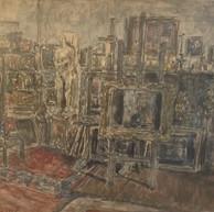 1947. L'Interno dell'Atelier con la Statua di Eva