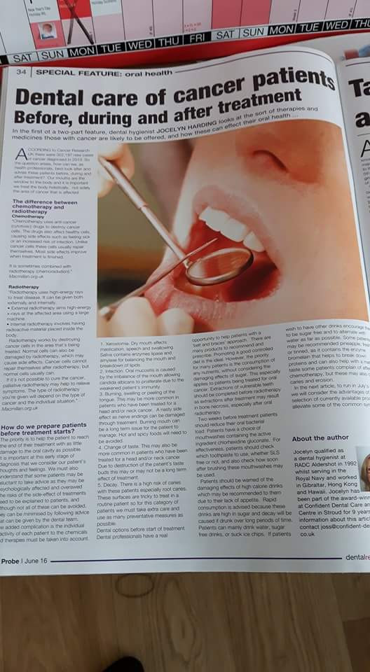The Probe (dental publication)- June 2016 and July 2016 Dental Care for Cancer Patients