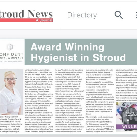 AWARD WINNING HYGIENIST IN STROUD NEWS AND JOURNAL
