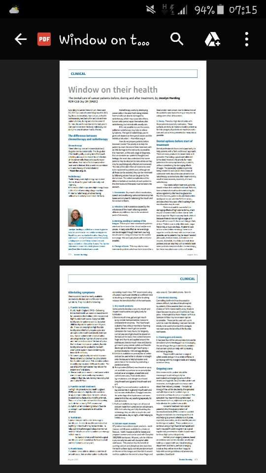 Dental Nursing (dental publication) - Window on their health.