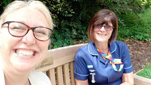 Lovely meet with Elaine, Practice Development Nurse for Oncology at Gloucestershire Royal Hospitals