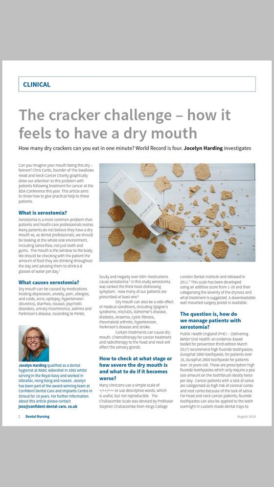 Dental Nursing - Cracker Challenge dry mouth article.