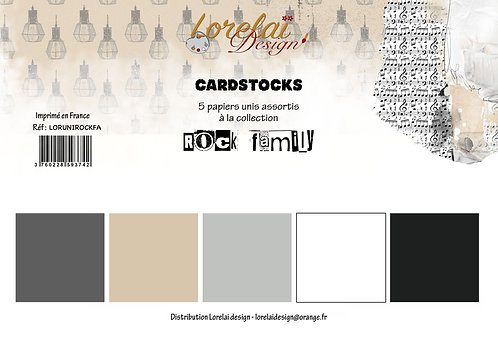 CARDSTOCKS ROCK FAMILY (LOT DE 5)