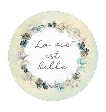 """Badge 03 """"La vie est belle"""" - Collection Parfum de roses"""