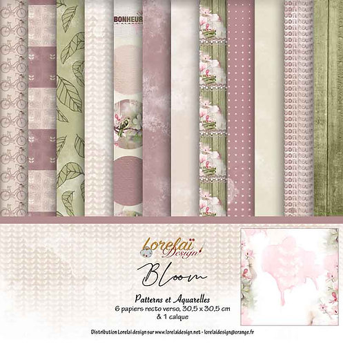 PACK PATTERNS ET AQUARELLES BLOOM (LOT DE 5)