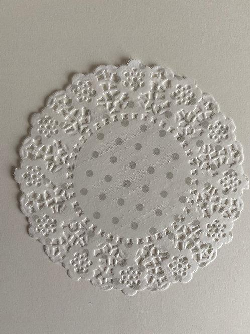Napperon papier blanc à pois gris clair x 3