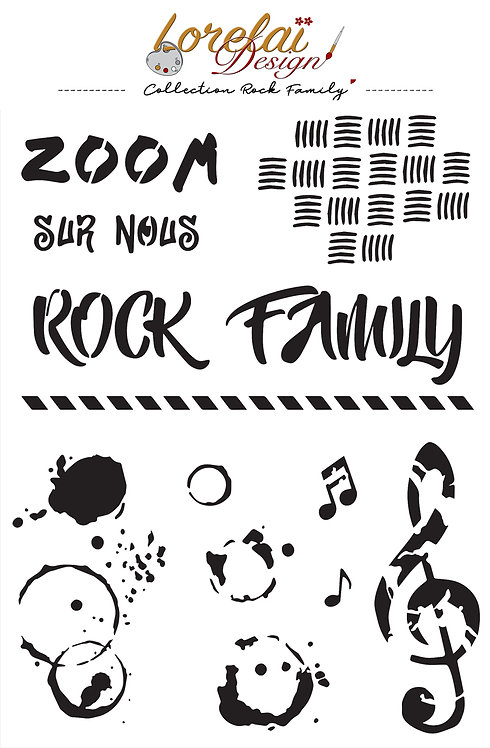 POCHOIR ROCK FAMILY (LOT DE 5)