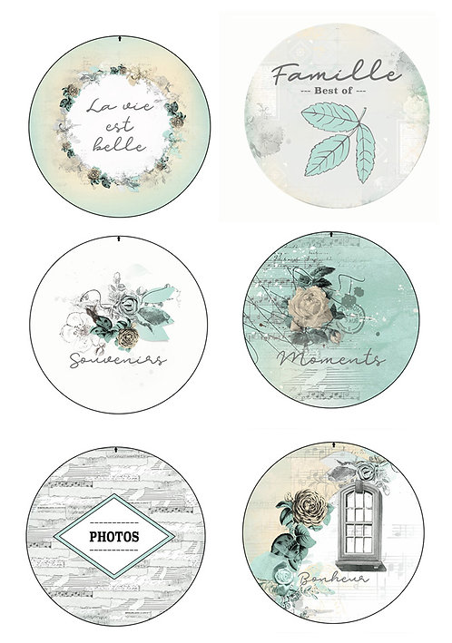 6 Badges Parfum de roses (LOT DE 5)
