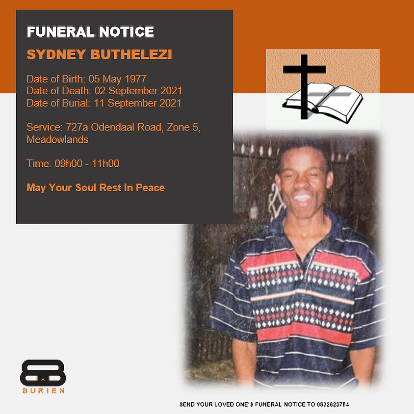 Funeral Notice Of The Late Sydney Buthelezi
