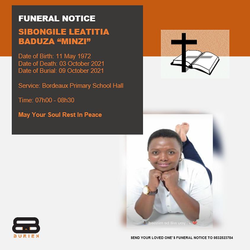 "Funeral Notice Of The Late Sibongile Leatitia Baduza "" Minzi"""