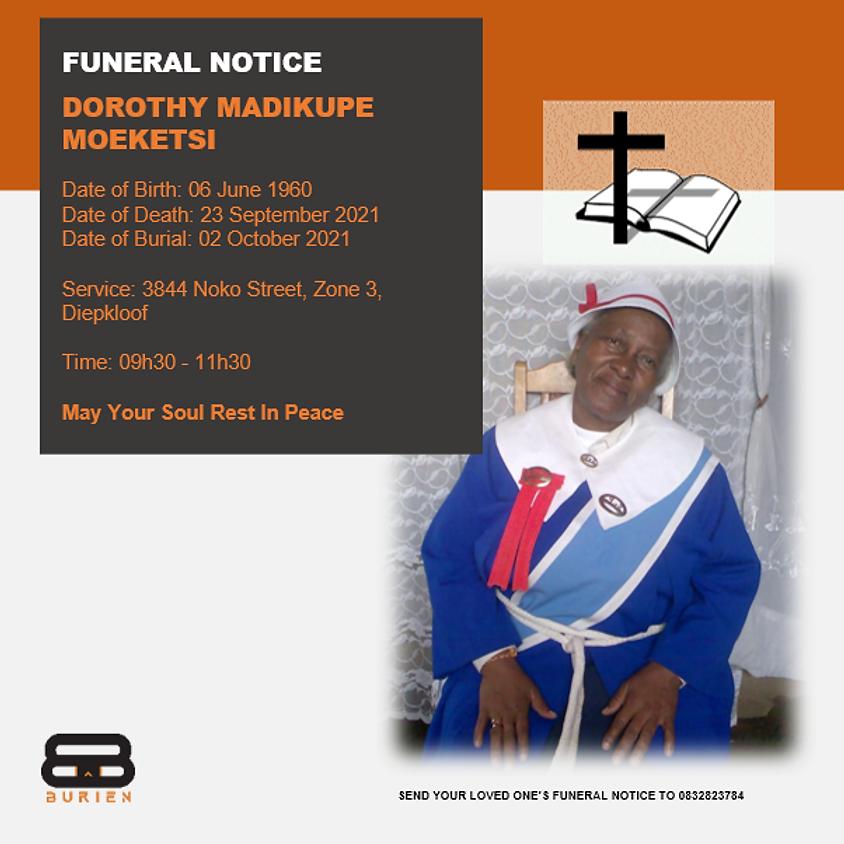 Funeral Notice Of The Late Dorothy Madikupe Moeketsi