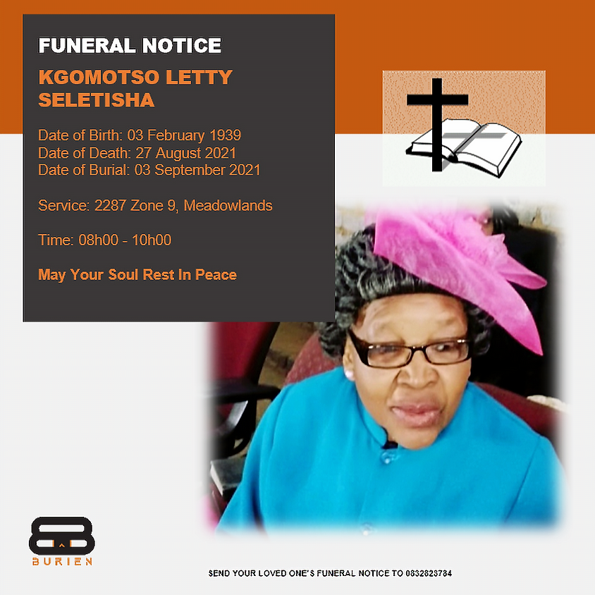 Funeral Notice Of The Late Kgomotso Letty Seletisha
