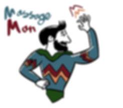 Is it a bird? Is it a plane? No..it's Massage Man! Logo design by Mr G Johnson Illustration