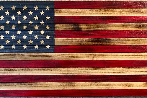 Medium Wooden Rustic American Flag (13 in X 24.75 in)