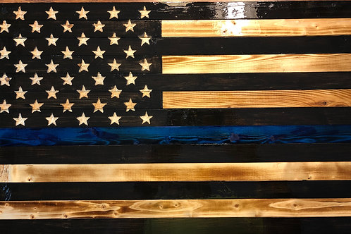 Large Wooden Rustic Thin Blue Line Flag (19.5 inches X 37 inches)