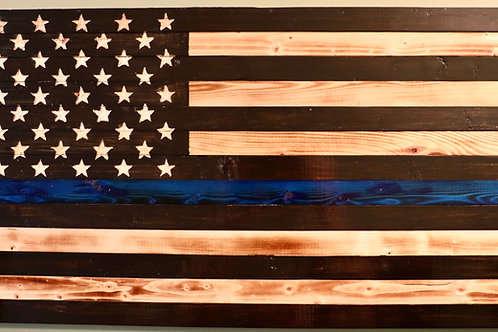 Small Wooden Rustic Thin Blue Line Flag (9 in X 18.5 in)